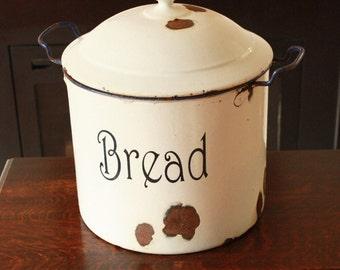Large Vintage enamel Bread Bin. White and blue.