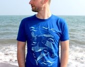 Bamboo Mens T-shirt hand screen printed with eco-friendly inks. Featuring an underwater scene of whales, sharks and killer whales