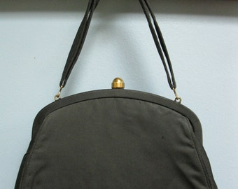 Vintage 1940's Black Satin Evening Bag Stylemark by Mutterperl Purse