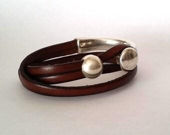 women bracelet, wrap bracelet, Men bracelet, uno de 50 style, leather bracelet,  Hook clasp, Silver, gift for women, brown bracelet
