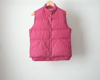 vintage 90s LL Bean PUFFY ski down filled PINK vest size small