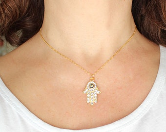 Hamsa necklace, gold hamsa necklace, hamsa hand, evil eye, gold chain, hand of fatima, cubic zirconia, best friend gift, mother gift