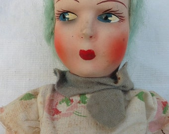 French Vintage , Vintage Doll ,  French doll , Antique Doll  1920, Original Doll. Punk Doll.