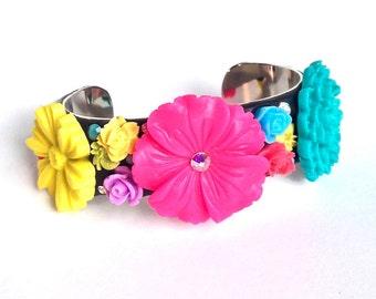 Colorful flower cuff bracelet, chrysanthemum jewelry, pink flower jewelry, neon bracelet, sweet lolita jewelry, harajuku fashion