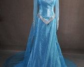 Couture Frozen Queen Elsa Princess Adult Cosplay Costume Gown Dress