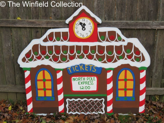 Christmas gingerbread train station wood by chartinisyardart