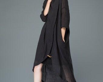 Black linen dress midi women's dress  C926