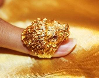 SALE! Designer Exceptional Lion Head Textured Ring RG