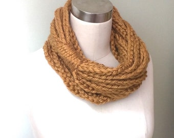 Honey Gold Scarf Necklace . Long . Chain Scarf . Mustard Scarf . Chain Infinity Scarf . Long Scarf . Gold Chain Scarf . Crochet Scarf