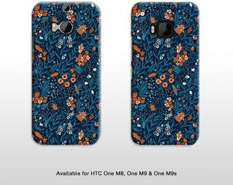 Vintage floral HTC One M8 M9 M9s phone case. Blue blooms flora pattern with beetles hard plastic phone case FP089