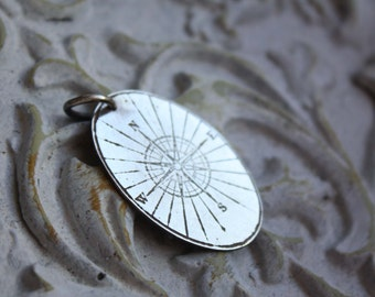 Compass silver pendant, sterling silver rose wind pendant/ COMPASS/ mens pen