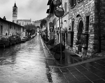 Italy Street Photography, Assisi Italy, Black and White Fine Art Photograph, Fine Art Print, Italy Art, Italy Photography