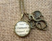 Daenerys Book Page Dragon Necklace - Game of Thrones, Khaleesi