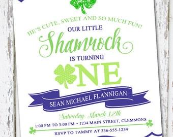 Shamrock Birthday Invite, Shamrock 1st Birthday, St Patrick's Day invite, Boy St Patrick's Day invite