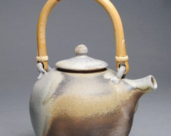 Wood Fired Teapot with Cane Handle E86