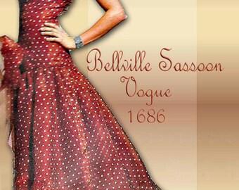 Designer Vogue 1686 1980s Bellville Sassoon Strapless Evening Dress Pattern Waterfall Hem and Petticoat * Wedding Dress Potential 36 Bust