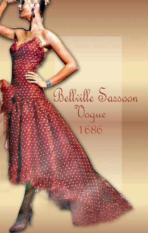 Bellville sassoon designer vogue 1686 strapless dress for High low wedding dress patterns
