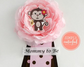 Pink Brown Monkey Baby Shower Corsage for Girls with Monkey Mommy to Be Grandma to Be and Custom Pins Badge Brooch Baby Shower Ribbon