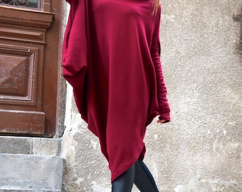 NEW Oversize Burgundy Loose Casual Top / Asymmetric Raglan Long Sleeves Tunic Knit Dress / Maxi Blouse Turtle neck Tunic A02058