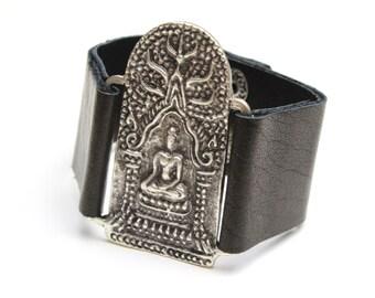 Sitting Buddha Leather Bracelet