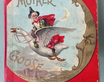Antique Mother Goose Book Christmas Holiday Display Man in the Moon McLoughlin Bros. New York 1898 Old Ideal Mother Goose