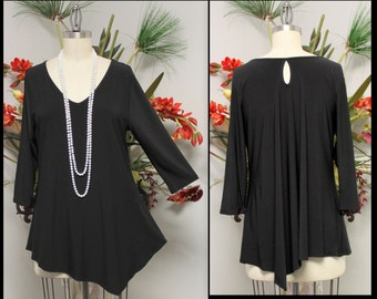 New Adorable In Style Peek A Boo Asymmetrical Top Tunic for Travel and Much More. M to XL