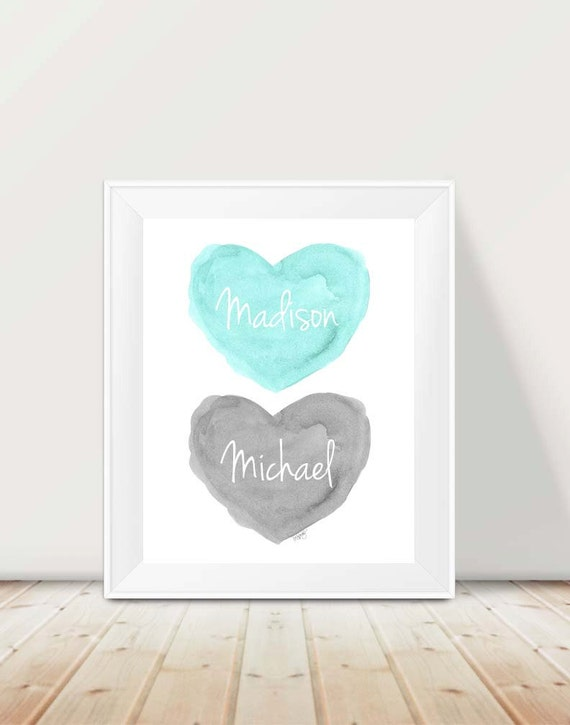 Aqua and Gray Personalized Nursery Print, 11x14