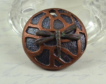 Copper Dragonfly polymer clay pendant