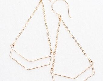 Kaimalie Earrings - Long Dangle Earrings, Geometric Jewelry, Gold Earrings, Drop Earring, Bohemian Earring, Gold Chevron Earring, V Earring