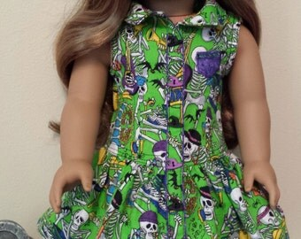 Handmade Spooky Halloween Yacht Club Doll Dress for 18 inch Dolls by Kizzie Creations