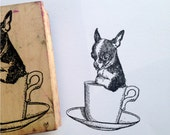 Destash Wooden Rubber Stamp chihuahua Puppy Teacup