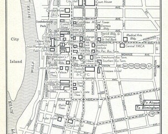 Memphis Louisville Downtown Maps Vintage 1950's Original US City Business Center Map Black and White Affordable Wall Decor