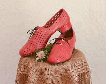 vintage 1960s red perforated mary janes