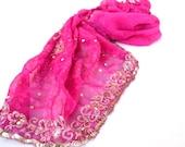 Pink Silk Shawl, Embroidered Sequin Scarf, Indian Sari Scarves, Bandana Gypsy Hippie Boho Bohemian Chic Festival Bollywood Wedding Bridal