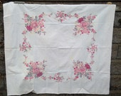 "RESERVED Vintage Pastel Pink Floral Tablecloth Table Linen 51"" x 46"" Cutter"