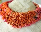Silk Necklace, Bib Necklace, Orange Jewelry, Fabric Jewelry, Repurposed Silk Sari Fabric, Eco Friendly Acessories