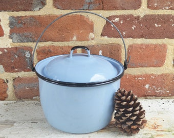 Vintage Blue Enamel Cooking Kettle/Pot