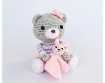 Crochet Bear/Teddy Bear Stuffed Animal in Grey and Pink and Purple