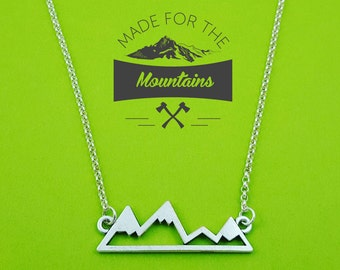 Snowy Peaks Necklace, Mountain Necklace Set, Mountain Jewelry,  Rock Climbing Necklace, Silver Mountain Pendant, MountainLovers, Rocky Mts