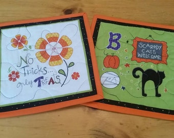 Halloween Mug Rugs, Set of 2 Snack Mats, Candle Mats, Mini Placemats, Trivets, Potholders, No Tricks, Only Treats, Scaredy Cats Welcome, BOO