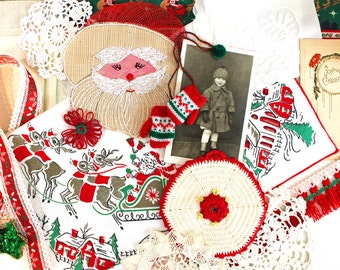 Vintage Supplies* Inspiration Kit*Ecru Doilies, Placemat, Hanky,Trims and Ribbons,Photo Post Card, Christmas Accents