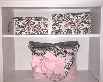 Personalized Diaper Bag Set In Pink & Grey Damask.  Choose Your Set Style.  Bag, Changing Pad, Wipe Case.  Interchangeable Bow Sash
