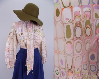 Vtg 60s / 70s CrEAmy PsYCheDeLic AgAtE PaTTerN WhimsY PriNt Polyester Blouse || MeDiUm SMaLl || ReTrO ShiRt ToP