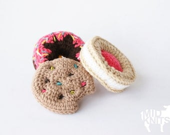 "DIY Crochet PATTERN - Sweet Treats Ornament Collection - 4"" diameter Donut, Chocolate Chip Cookie, and Fruit Creme Cookie (2015029)"