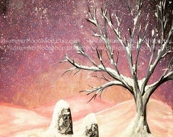 Art Print, Winter at the Standing Stones, Standing Stones, Druid Magic, Winter Painting, Art Painting, Tree Painting, 8 x 10 Print, Night