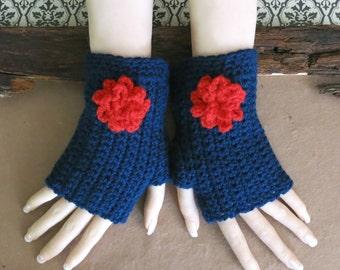 Crochet Fingerless Gloves, Wrist Warmers, Navy Arm Warmers, Crochet Flower, Wool Mittens, School Student Gloves, Australia, Nchanted Gifts