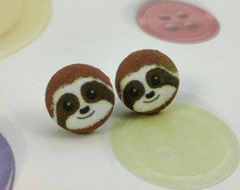 Sloth Button Earrings Post Stud Earring Pair Studs Illustrated Printed Fabric