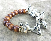 Womens Handcrafted Natural Jasper DALMATION Gemstone Chip Nugget Spike Brown WOOD Bead Stack Boho Layer Stretch BRACELET Jewelry Fashion