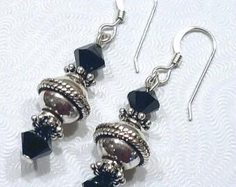 Black Crystal Earrings, Silver Dangle Earring, Beaded Jewelry, Black Earrings, Sterling Silver Earrings, Bali Jewelry, Crystal Dangle