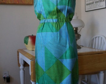 RESERVED Vintage 1960s BH Wragge Dress / 1960s Silk Dress Mod Dress Blouson Dress / Houndstooth Check Color Block Geometric Print / SM